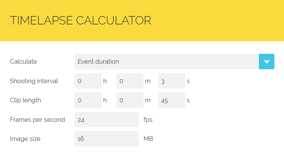 Screenshot du timelapses calculator