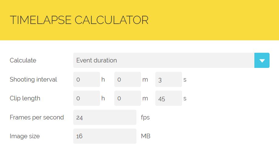 Screenshot du timelapses calculator